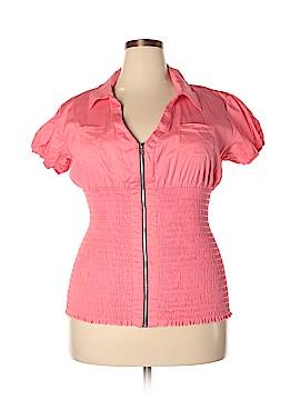 L8ter Short Sleeve Button-Down Shirt Size 1X (Plus)