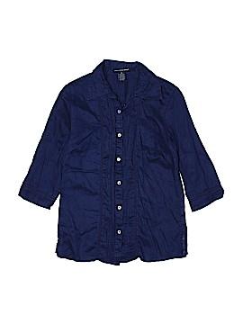Saint Tropez West 3/4 Sleeve Button-Down Shirt Size M