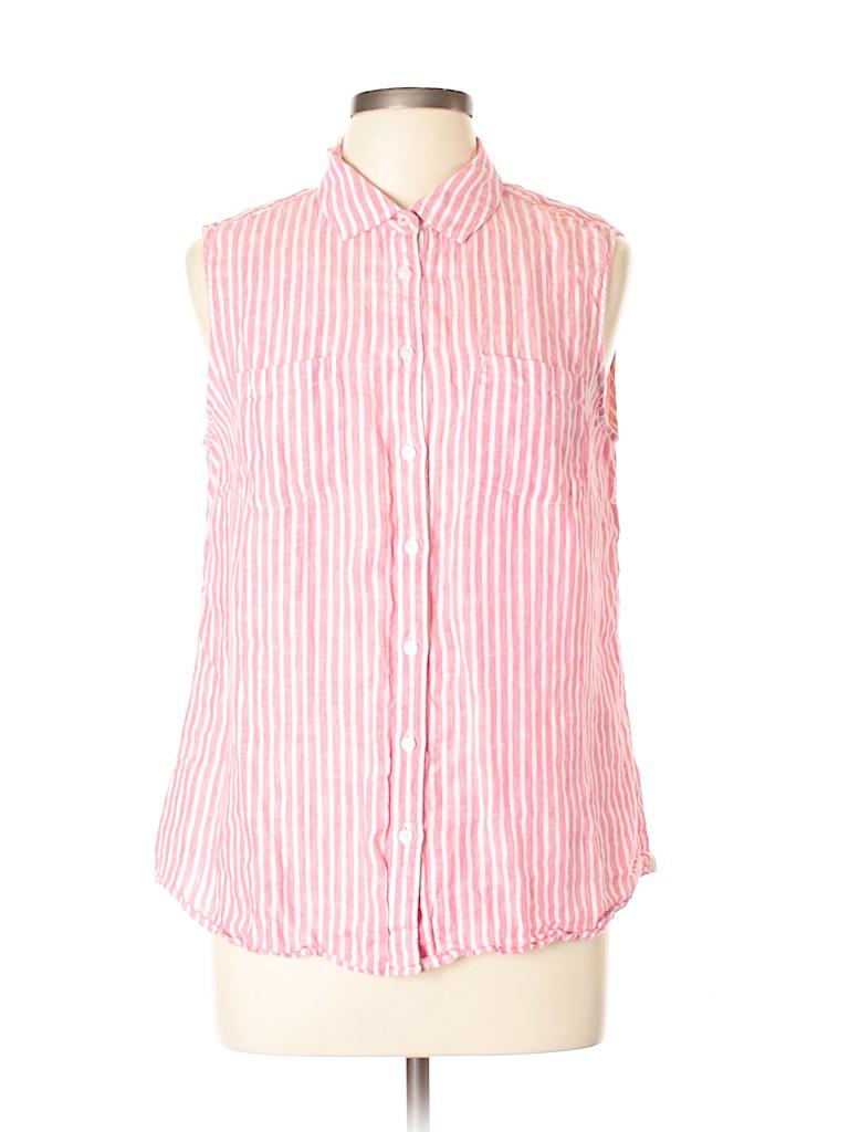 1b27f147e3b Talbots 100% Linen Stripes Pink Sleeveless Blouse Size L - 73% off ...