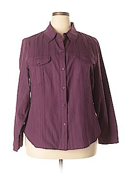 Evan Picone Long Sleeve Button-Down Shirt Size 2X (Plus)