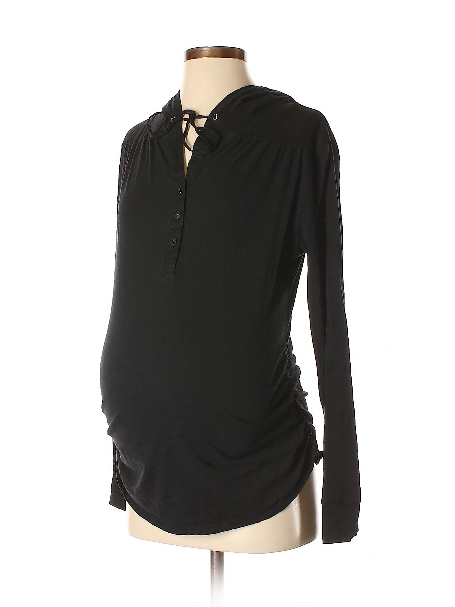 d6f3fc0ab9d68 Liz Lange Maternity for Target 100% Cotton Solid Black Long Sleeve ...
