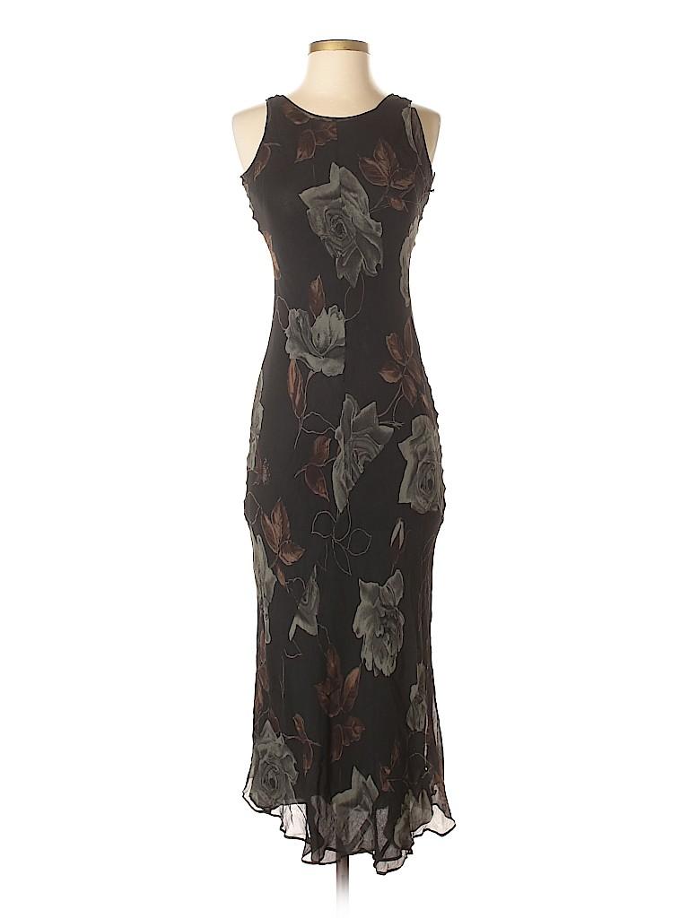 Bloomingdale S 100 Silk Floral Black Cocktail Dress Size S 79