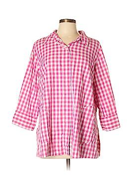 Joan Rivers 3/4 Sleeve Button-Down Shirt Size L