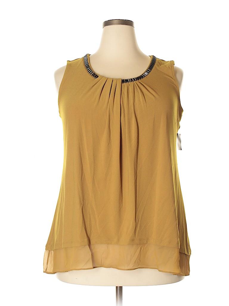 966134117a28e1 Alfani Solid Dark Yellow Sleeveless Top Size 1X (Plus) - 66% off ...