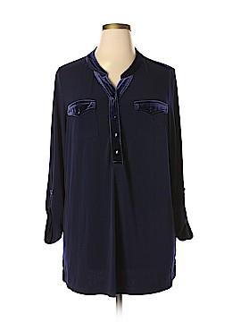 Susan Graver 3/4 Sleeve Button-Down Shirt Size 1X (Plus)