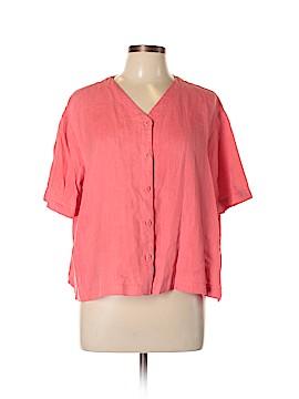 Eileen Fisher Short Sleeve Button-Down Shirt Size L