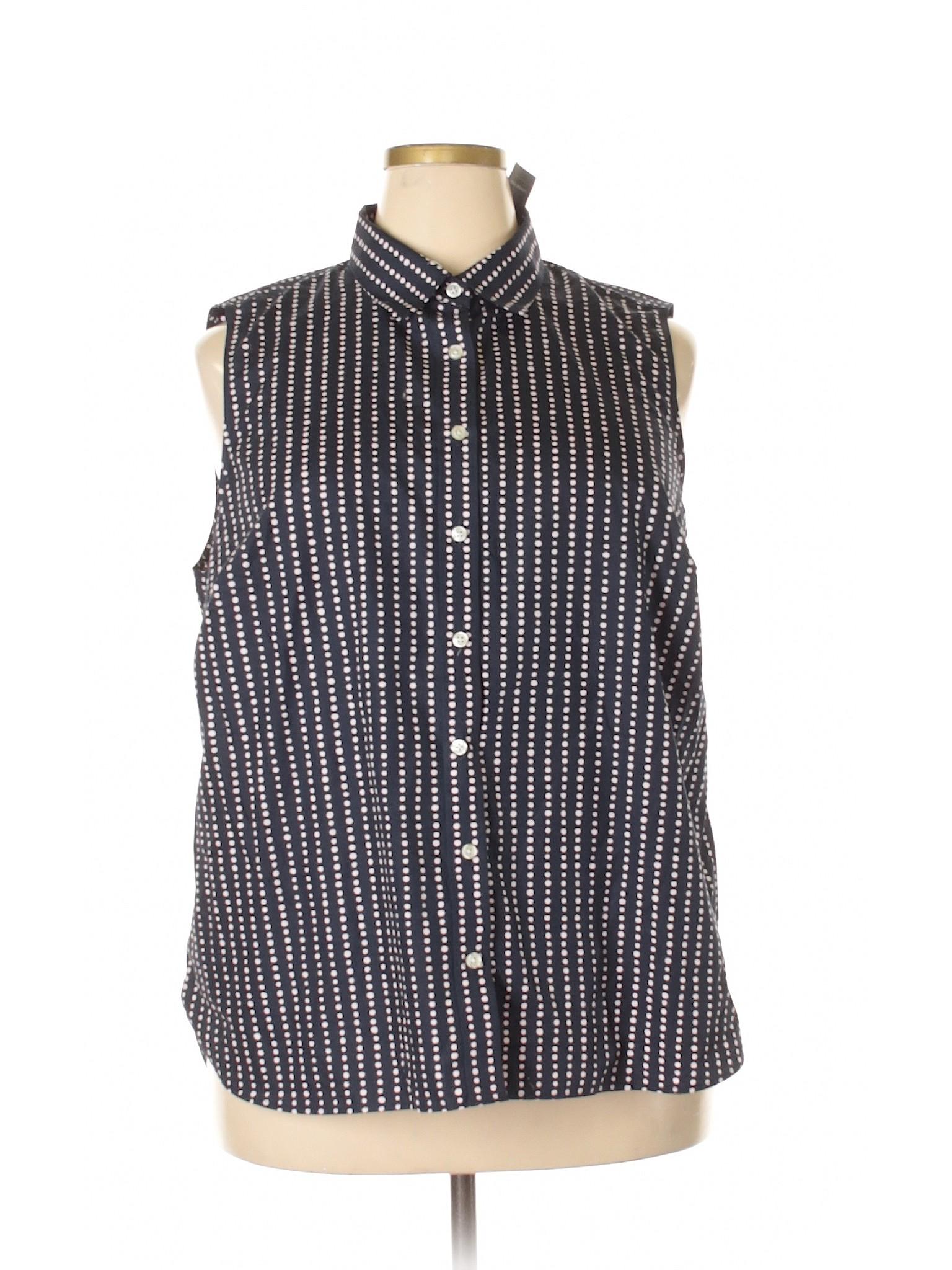 Lands 39 end 100 cotton polka dots navy blue sleeveless for Lands end logo shirts