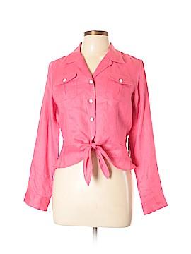 Jones New York Signature Long Sleeve Button-Down Shirt Size L (Petite)