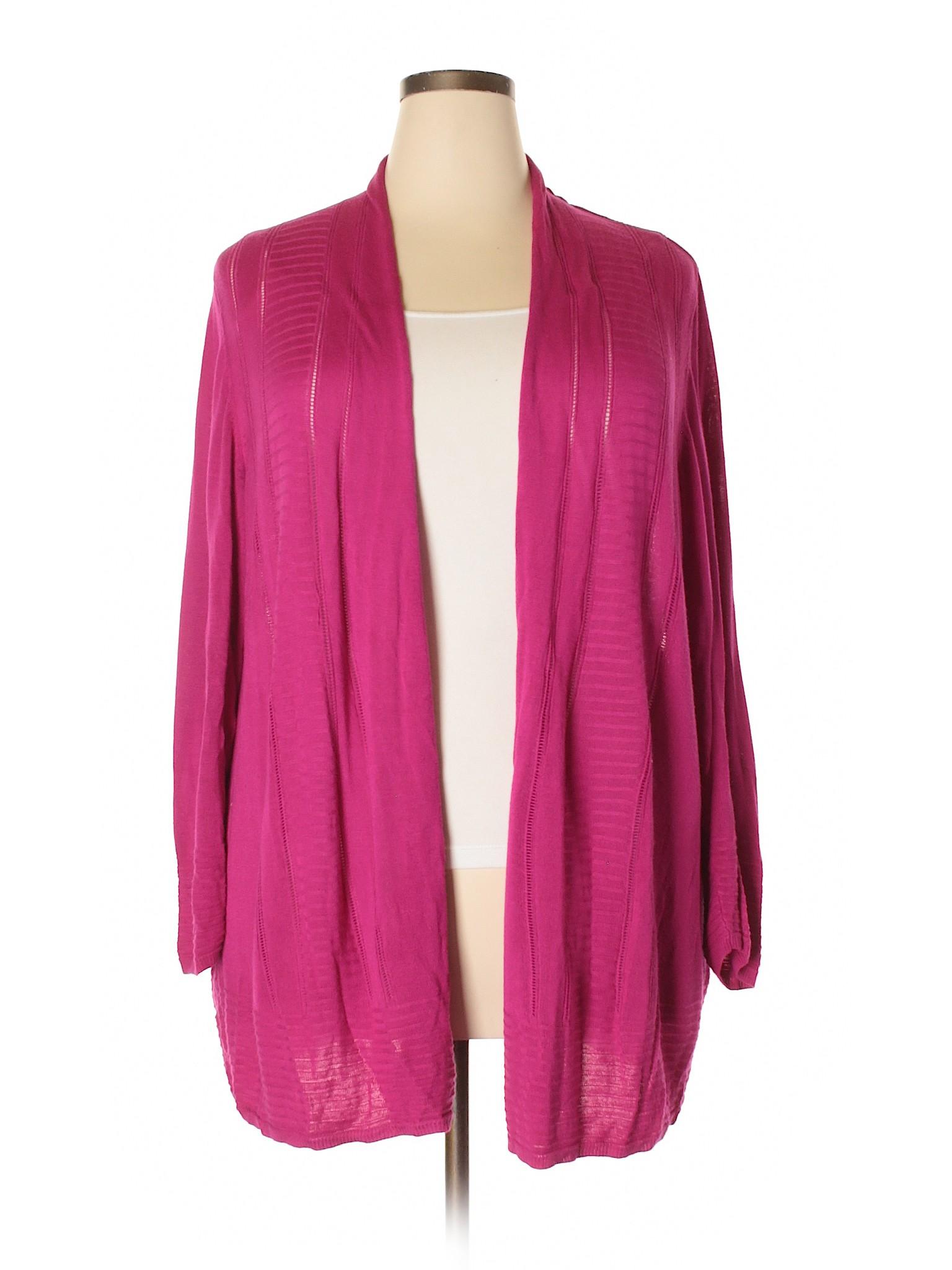 652c9919b90 Avenue 100% Cotton Solid Pink Cardigan Size 26 - 28 Plus (Plus) - 71 ...
