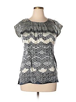 CAbi Short Sleeve Silk Top Size L