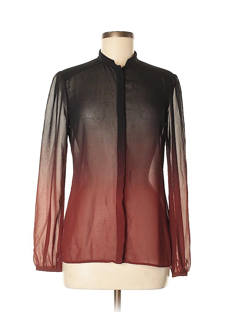 939359cc672e Ted Baker London 100% Polyester Color Block Black Long Sleeve Blouse ...