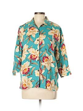 Jones New York Sport 3/4 Sleeve Button-Down Shirt Size L