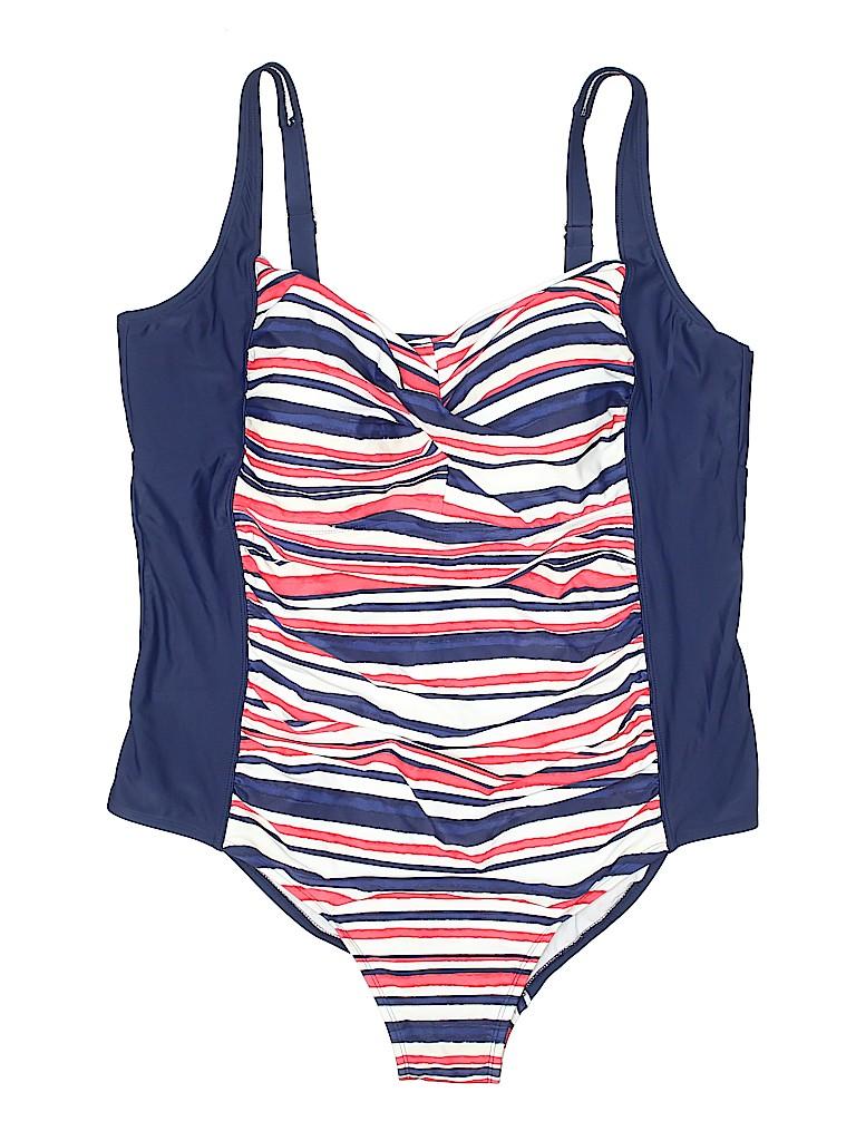 ea987b3370ca1 Ava   Viv Stripes Dark Blue One Piece Swimsuit Size 26 (Plus) - 47 ...