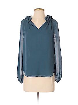 Barneys New York Long Sleeve Silk Top Size S