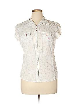 Adiktd Jeans Short Sleeve Button-Down Shirt Size L