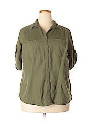 Just My Size Women Short Sleeve Button-Down Shirt Size 1X (Plus)