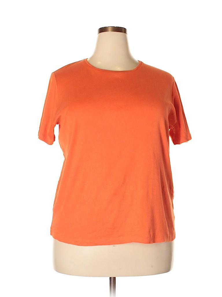 81414b0eb59f3 Jones New York Signature 100% Cotton Solid Orange Short Sleeve T ...