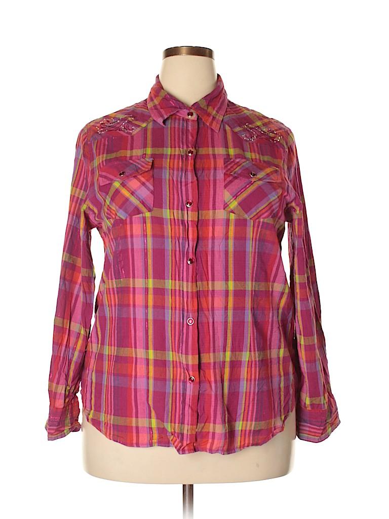 Gibson Women Long Sleeve Button-Down Shirt Size XXL