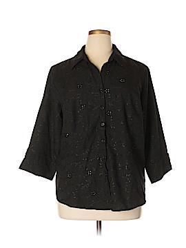 Lemon Grass 3/4 Sleeve Button-Down Shirt Size 1X (Plus)