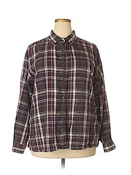 Erika & Co. Long Sleeve Button-Down Shirt Size 2X (Plus)
