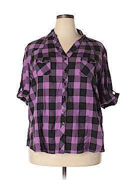 Love Potion 3/4 Sleeve Button-Down Shirt Size 1X (Plus)