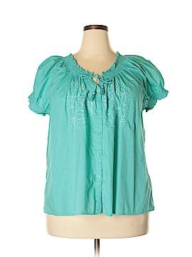 Caribbean Joe Short Sleeve Blouse Size 3X (Plus)