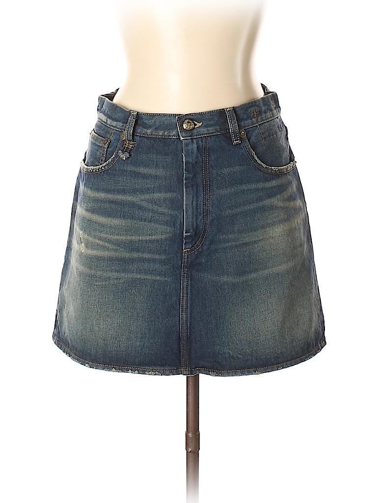 0c08b84c0 R13 100% Cotton Solid Dark Blue Denim Skirt 31 Waist - 80% off | thredUP