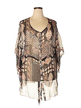 Alain Weiz 3/4 Sleeve Silk Top Size 24 (Plus)