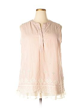 LOGO Sleeveless Button-Down Shirt Size 1X (Plus)