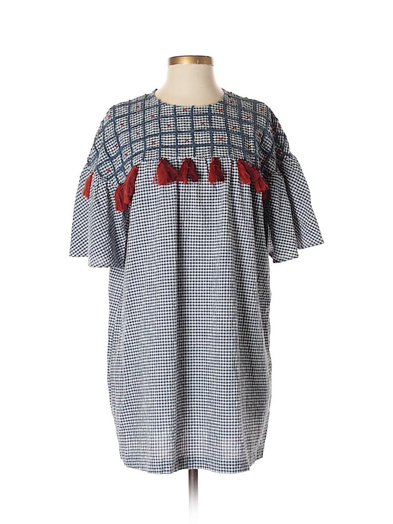 1e489054 Zara 100% Polyester Polka Dots Navy Blue Short Sleeve Top Size S ...