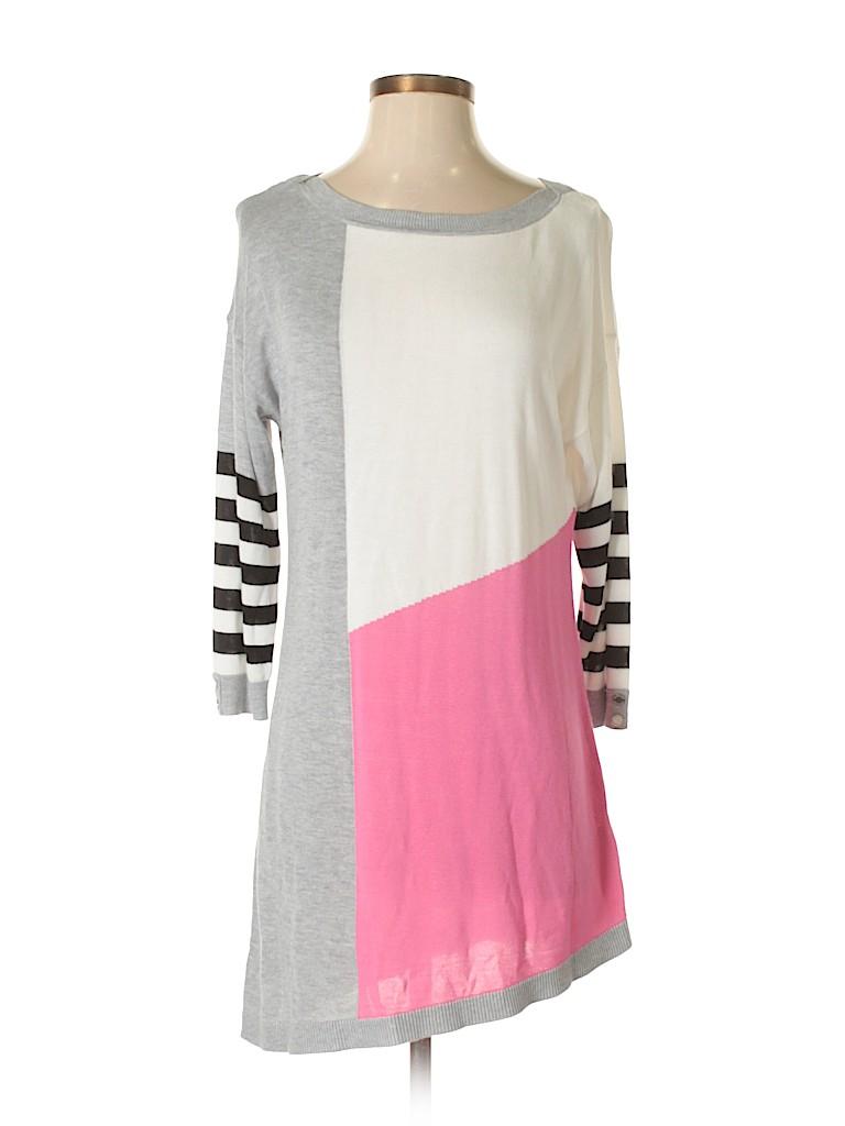White House Black Market Stripes Color Block Gray Casual Dress Size ...