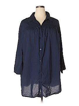 SWIM 365 Long Sleeve Button-Down Shirt Size 2X (Plus)