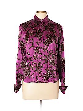 Linda Allard Ellen Tracy Long Sleeve Silk Top Size 14 (Petite)