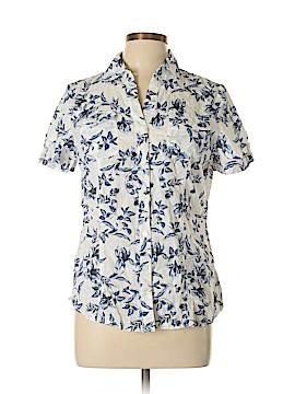 Karen Scott Short Sleeve Button-Down Shirt Size L (Petite)