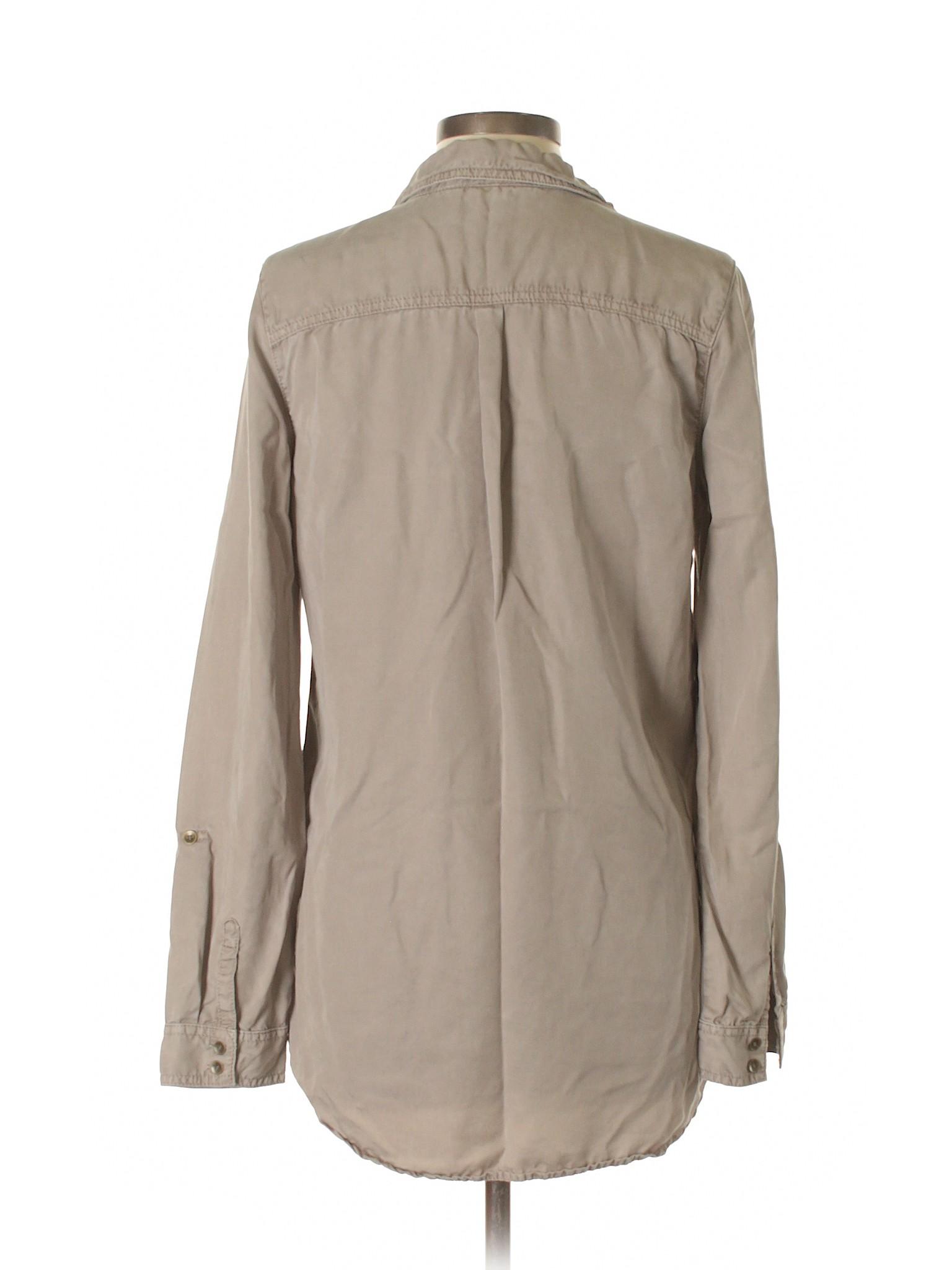 e6392e6244022 Halogen 100% Tencel Solid Tan Long Sleeve Blouse Size L - 74% off ...