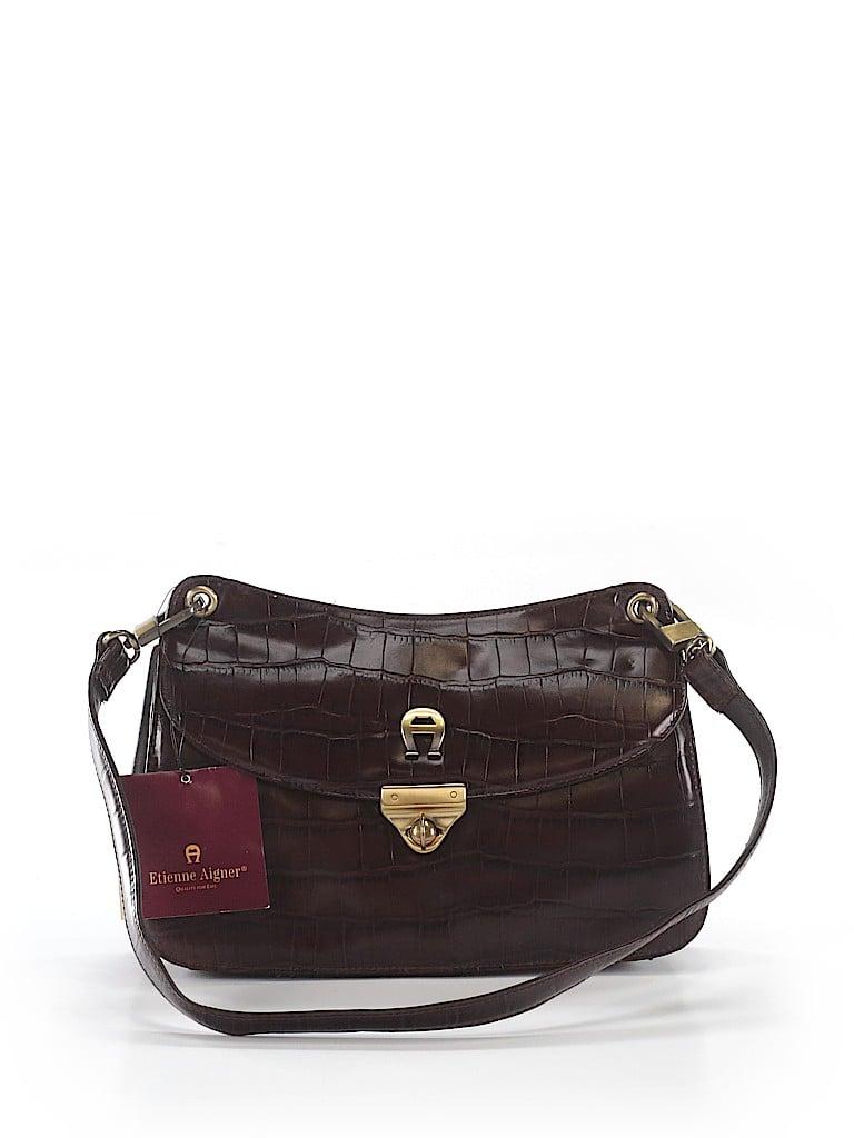 Etienne Aigner 100% Leather Animal Print Brown Leather Shoulder Bag ... 8110a36380