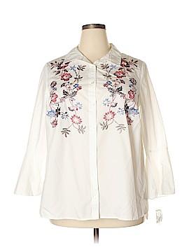 Charter Club 3/4 Sleeve Button-Down Shirt Size 14w