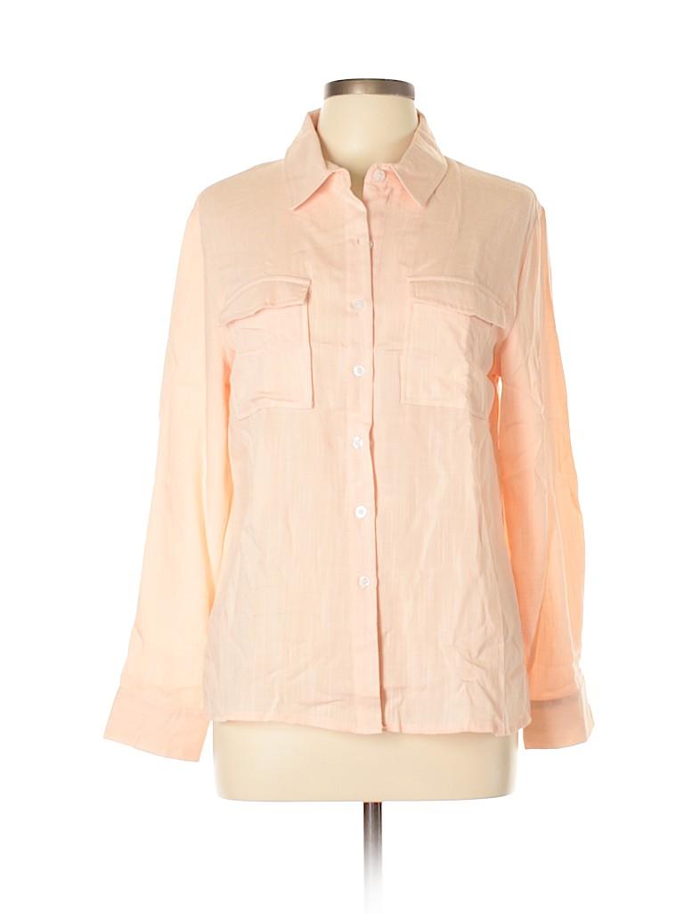 Amaryllis Women Long Sleeve Button-Down Shirt Size M