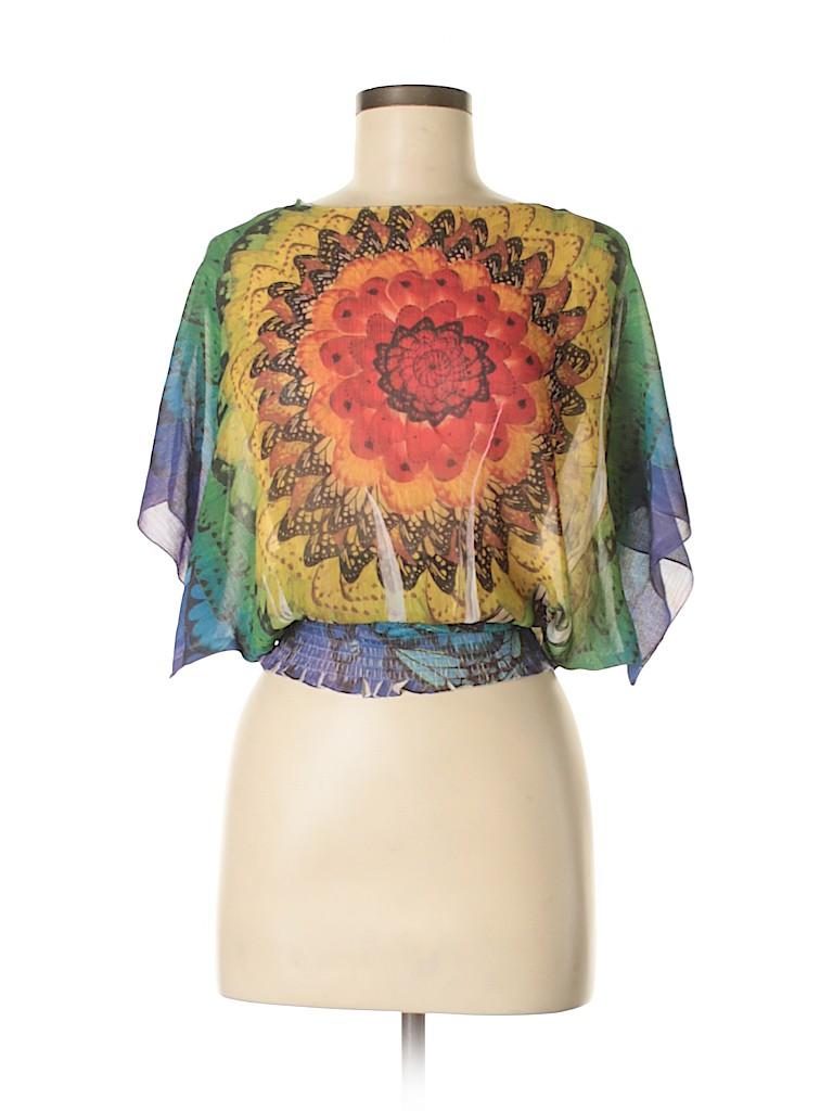 Energe by oneworld Women Short Sleeve Blouse Size S