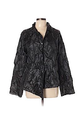 Silk Box Long Sleeve Silk Top Size L