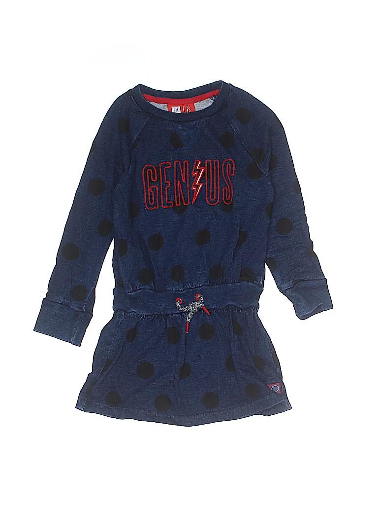 7e5c24dcb495 Gap Kids 100% Cotton Polka Dots Graphic Navy Blue Dress Size 4 - 5 ...