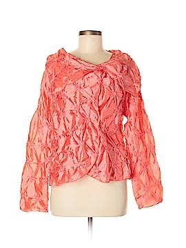 Silk Box Long Sleeve Silk Top Size M