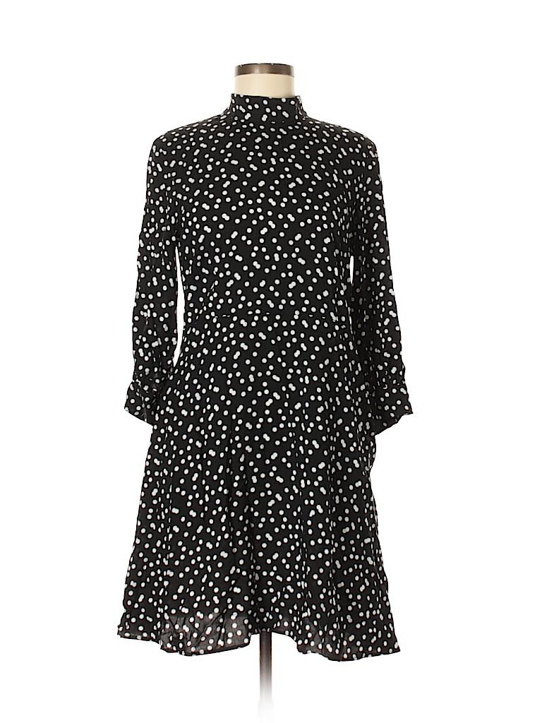 f8f59933d711d Zara Basic 100% Viscose Polka Dots Black Casual Dress Size M - 19 ...