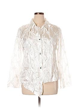 Silk Box Long Sleeve Blouse Size XL