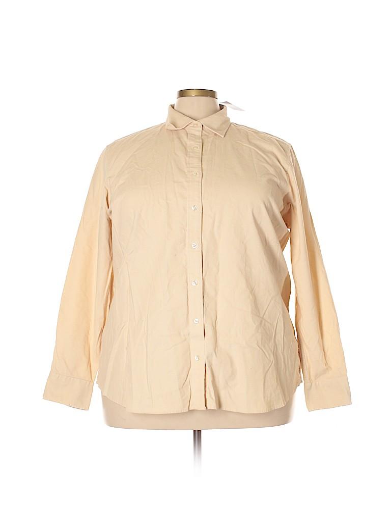 Lands' End Women Long Sleeve Button-Down Shirt Size 2X (Plus)