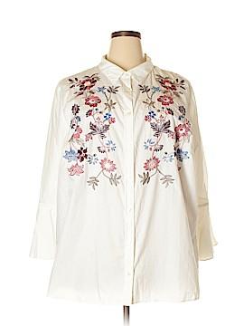 Charter Club 3/4 Sleeve Button-Down Shirt Size 24W (Plus)