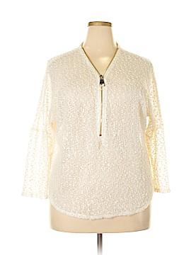 Alfani 3/4 Sleeve Button-Down Shirt Size 1X (Plus)