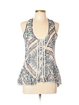 Eyelash Couture Sleeveless Button-Down Shirt Size L