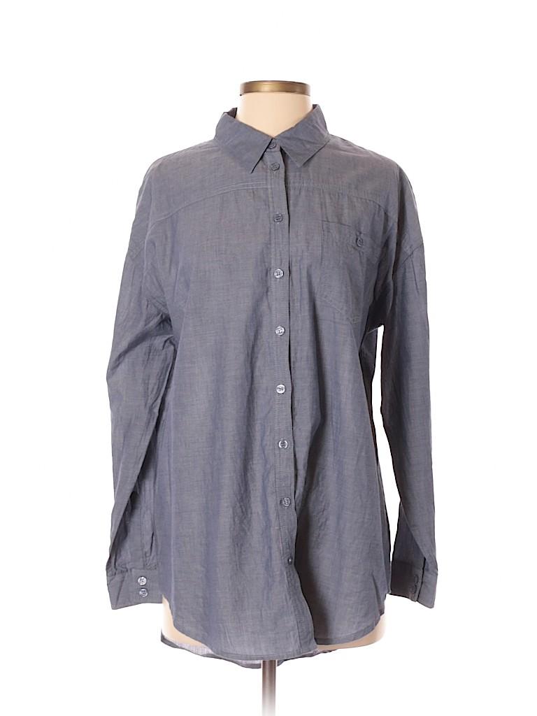 Andrea Jovine Women Long Sleeve Button-Down Shirt Size S