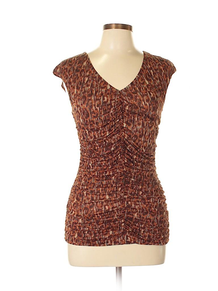 35f21f3659189 Classiques Entier 100% Silk Animal Print Brown Short Sleeve Silk Top ...